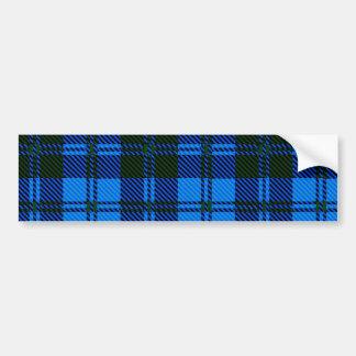 Blue Tartan Wool Material Bumper Sticker