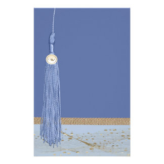 Blue Tassel, Leaf Accent, Abstract Gold, Blue Personalized Stationery