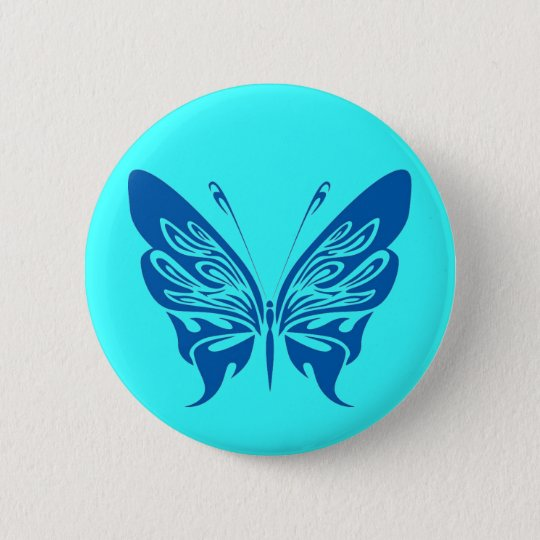 BLUE TATTOO BUTTERFLY GRAPHIC LOGO 6 CM ROUND BADGE