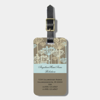 Blue Taupe Ivory Dandelions Floral Luggage Tags