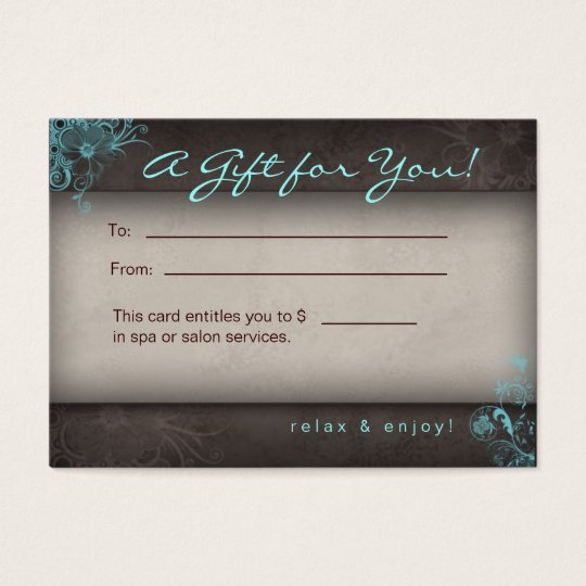 Blue Taupe Salon Spa Floral Gift Card