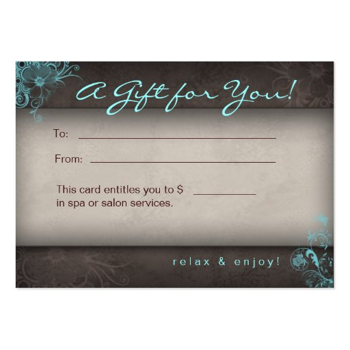 Blue Taupe Salon Spa Floral Gift Card Business Card Template