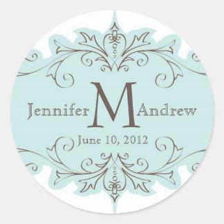 Blue Taupe Swirl Monogram Wedding Date Stickers