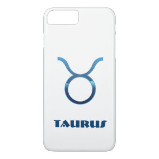 Blue Taurus Zodiac Sign On White iPhone 8 Plus/7 Plus Case