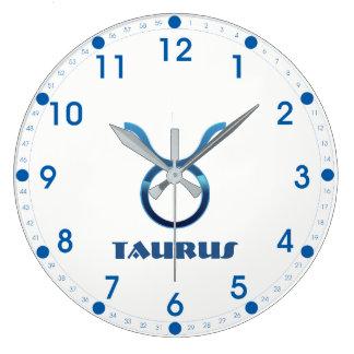 Blue Taurus Zodiac Sign On White Large Clock