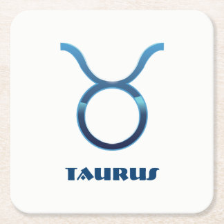 Blue Taurus Zodiac Sign On White Square Paper Coaster