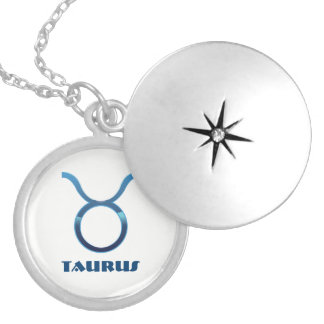 Blue Taurus Zodiac Signs On White Silver Plated Necklace