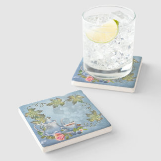 Blue Tea Party Stone Coaster