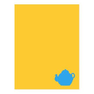 Blue tea pot postcard