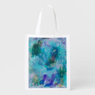 Blue teal and purple abstract art tote grocery bags