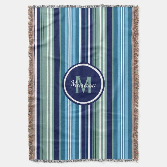 Blue Teal And White Summer Stripes Throw Blanket