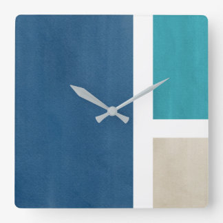 Blue Teal Beige White Modern Square Wall Clock
