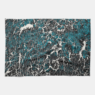 Blue Teal Black White Abstract Pattern Tea Towel
