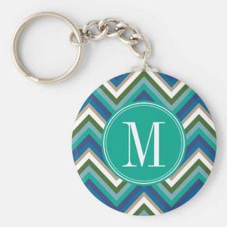 Blue & Teal Chevron Pattern with Monogram Basic Round Button Key Ring