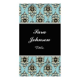 Blue teal damask classy elegant Business card