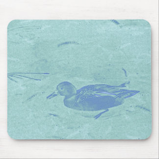Blue Teal Duck on Blue Mouse Pads