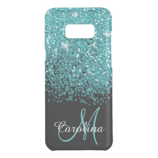 Blue Teal Glitter Name And Monogram Girly Uncommon Samsung Galaxy Case Zazzle Co Uk