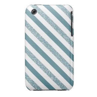 Blue Teal Glittery Stripes iPhone 3 Case