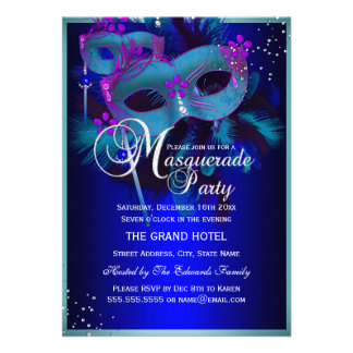 Blue Teal Masks Masquerade Party Invite