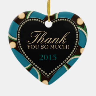 Blue Teal Monogram Thank You Heart Ornament