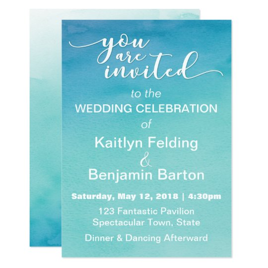 Blue & Teal Ombre Watercolor Wedding Invitation 3b