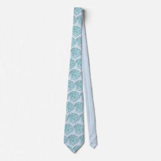 Blue & Teal Seashell Beach Tie