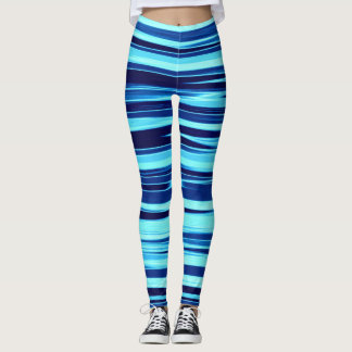 Blue & Teal Striped Leggings