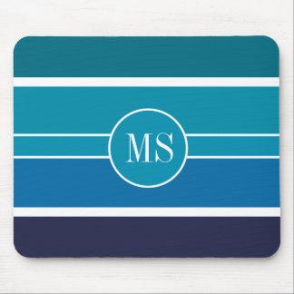 Blue Teal Stripes Monogram Pattern Mouse Mat
