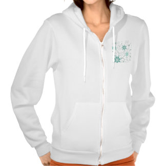 Blue Teal Swirling Flowers Hooded Pullover