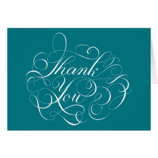 Blue Teal Thank You Floral Swirls Turquoise Card