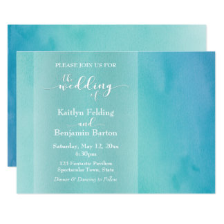 Blue & Teal Watercolor Ombre Horizontal Wedding Card