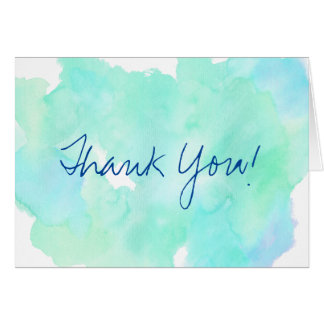 Blue teal watercolor vintage Thank you Card