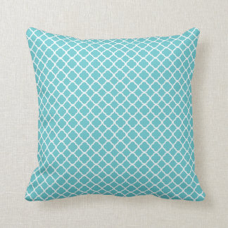 Blue Teal White Moroccan Lattice Pillow