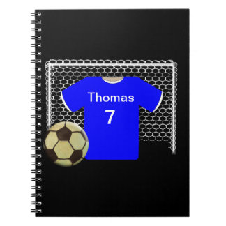 Blue Team Personalized Soccer Shirt Spiral Notebook