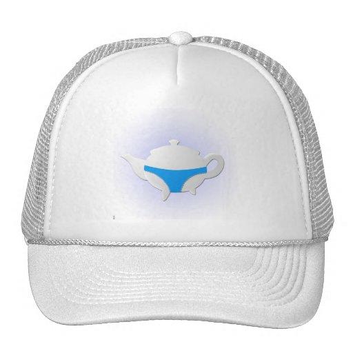 Blue teapot and lingerie mesh hats