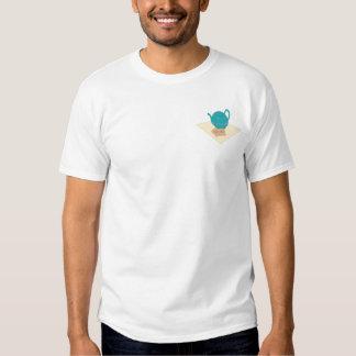 Blue teapot and teabags tee shirt