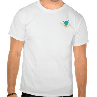 Blue teapot and teabags t shirts