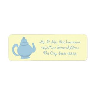 Blue Teapot Return Address Label