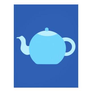 Blue Teapot on Navy Background Flyers