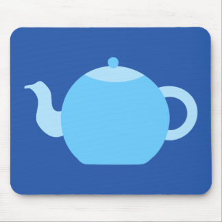 Blue Teapot on Navy Background. Mouse Pads