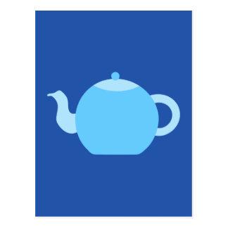 Blue Teapot on Navy Background. Postcard