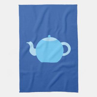 Blue Teapot on Navy Background. Tea Towel