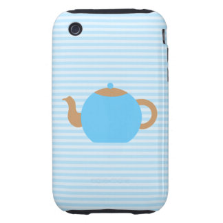 Blue Teapot picture on Blue Stripes. iPhone 3 Tough Cover