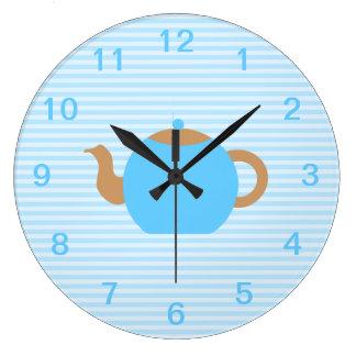 Blue Teapot picture on Blue Stripes. Large Clock