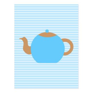 Blue Teapot picture on Blue Stripes. Postcard