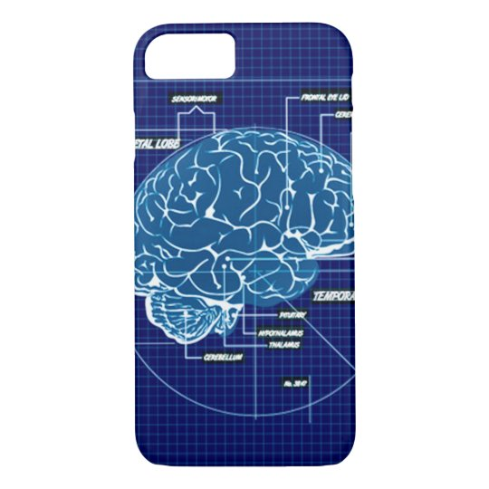 Blue Techno Brain Schematic iPhone 7 Case