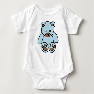 Blue teddy baby vest baby bodysuit