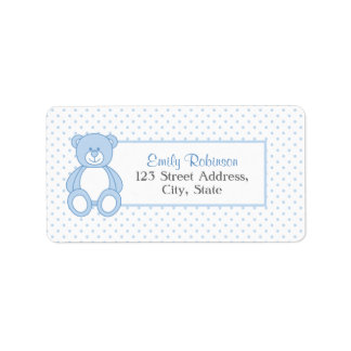 Blue Teddy Bear Address Labels