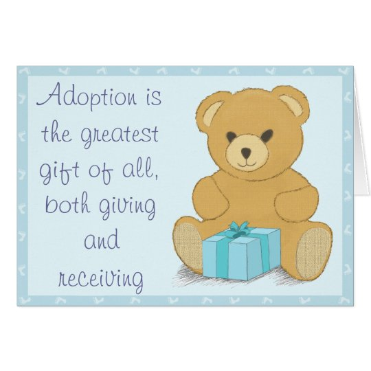 Blue Teddy Bear Adoption Day Congratulations Card