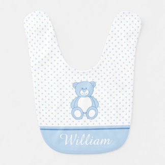 Blue Teddy Bear Baby Bib